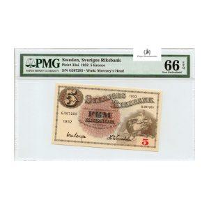 Sweden, 1952 5 Kronor, Sveriges Riksbank, PMG 66 EPQ
