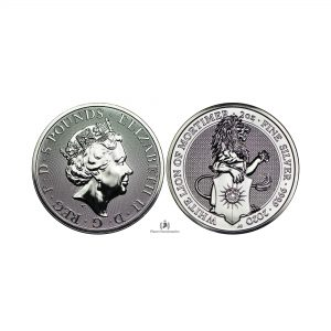 Great Britain, 2020 oz Silver Queen's Beast -White Lion of Mortimer- Coin .9999 Fine BU