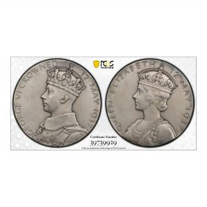 Great Britain, 1937 Silver Medal, George VI, 57mm, PCGS SP/ UNC DETAILS