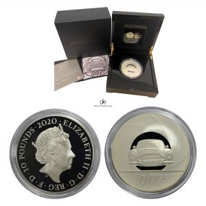 Great Britain, 2020 10 Pounds, Silver 5oz, James Bond 007, Proof FDC
