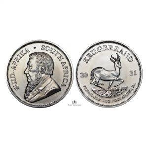 South Africa, 2021 Silver 1 oz, Kruggerand, BU