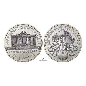 Austria, 2021 1,50 Euro, Silver 1oz, Philarmonic, BU
