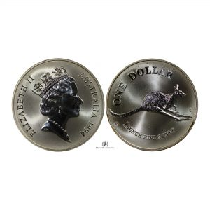 Australia, 1994 1 Dollar, Silver 1oz, 3rd Portrait – Kangaroo, UNC