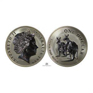 Australia, 1999 1 Dollar, Silver 1oz, 4th Portrait – Kangaroo, UNC