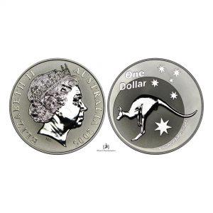Australia, 2005 1 Dollar, Silver 1oz, 4th Portrait – Kangaroo, UNC