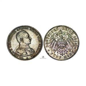 Germany, 1913-A 5 Mark, Prussia, Silver 0.900, XF/AU