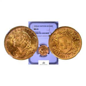 Switzerland, 1935-B 20 Francs, Gold 0.900, Vreneli, NGC MS65